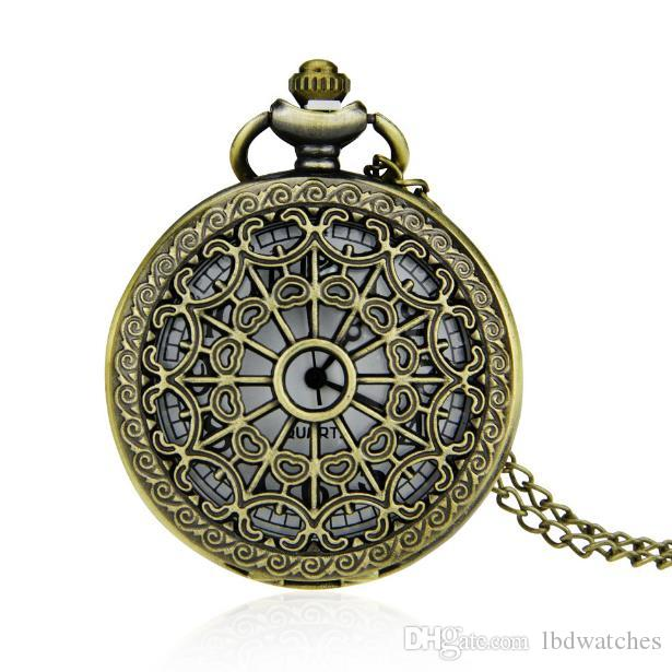 Vintage orologio da tasca del bronzo di modo orologio classico cava orologio da tasca ragnatela tasca del quarzo del pieno di età