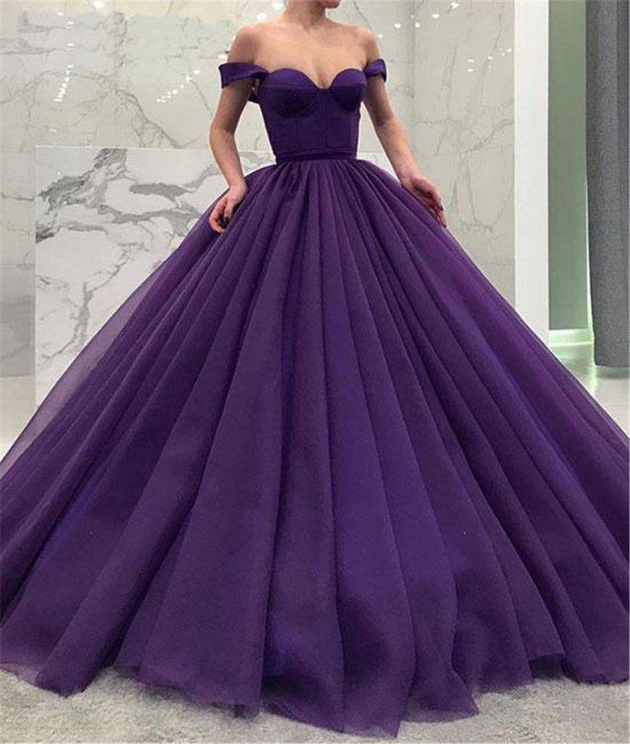 großhandel weg von der schulter lila tüll ballkleider einfache stil prom  kleider korsett formelle abendkleid von saruidress, 95,86 € auf  de.dhgate