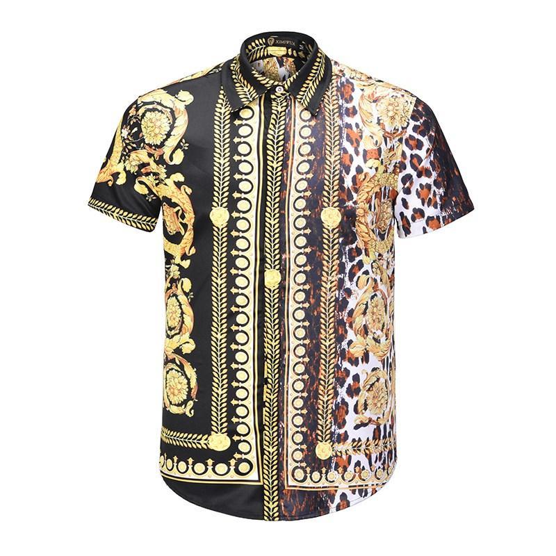 2018 New  Men Short Sleeve Cotton Casual Shirts Designer 3D Slim Fit Fashion England Shirts on Sale XMH7063