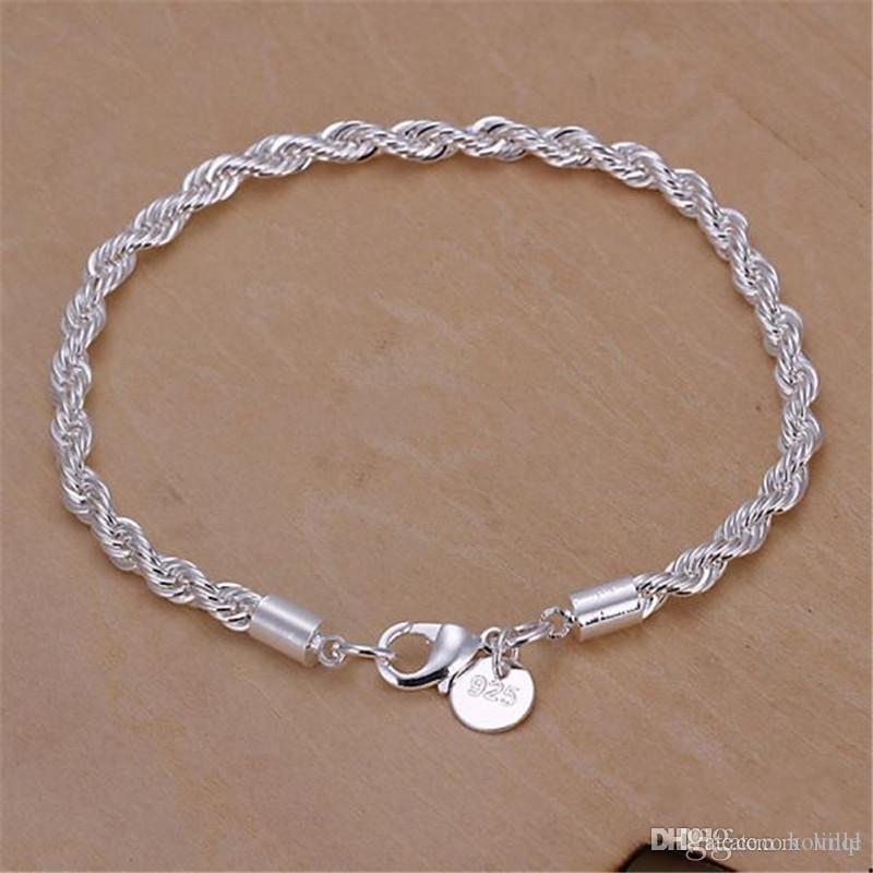 Mode 925 Argent Bracelets Bijoux 200mm * 4mm corde torsadée Chaîne Femme Hommes Unisexe Bracelets Vente Chaude Livraison Gratuite