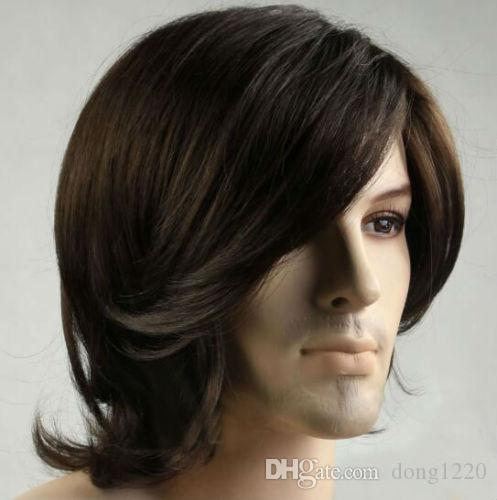 Men Fashion Short Brown Natural Curly Hair Male Man Cosplay Daily Fiber Full Wig