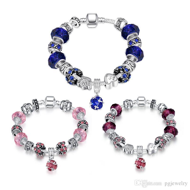 Nova chegada 100% 925 prata roxo fazer jóias pulseiras de moda liga de estanho para as mulheres presentes PDRH009 entrega gratuita