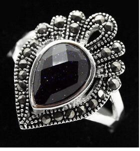 Free Shipping fashion design 925 SILVER FACETED DROP BLUE SANDSTONE MARCASITE RING SIZE 7/8/9/10 valentise gift