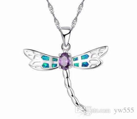 New Women Dragonfly Design Pendant Necklace 925 Sterling Silver Blue Fire Opal Necklaces Jewelry for Lady