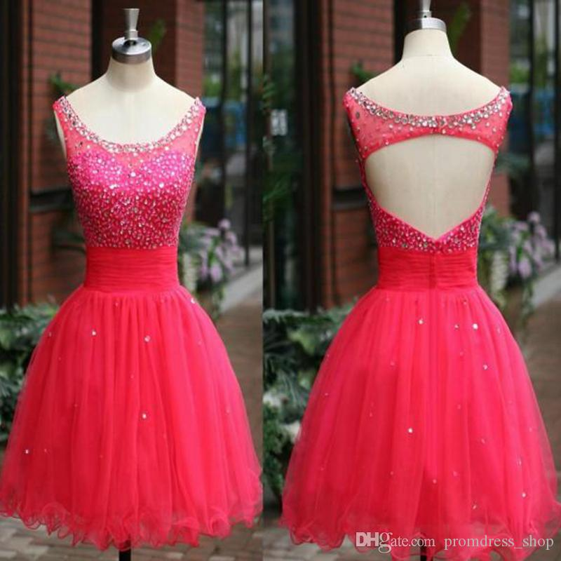 New Cheap Free Shipping Red Beading Short Homecoming Dresses Jewel Backless Tulle Fabric Party Dress Real Image Custom made