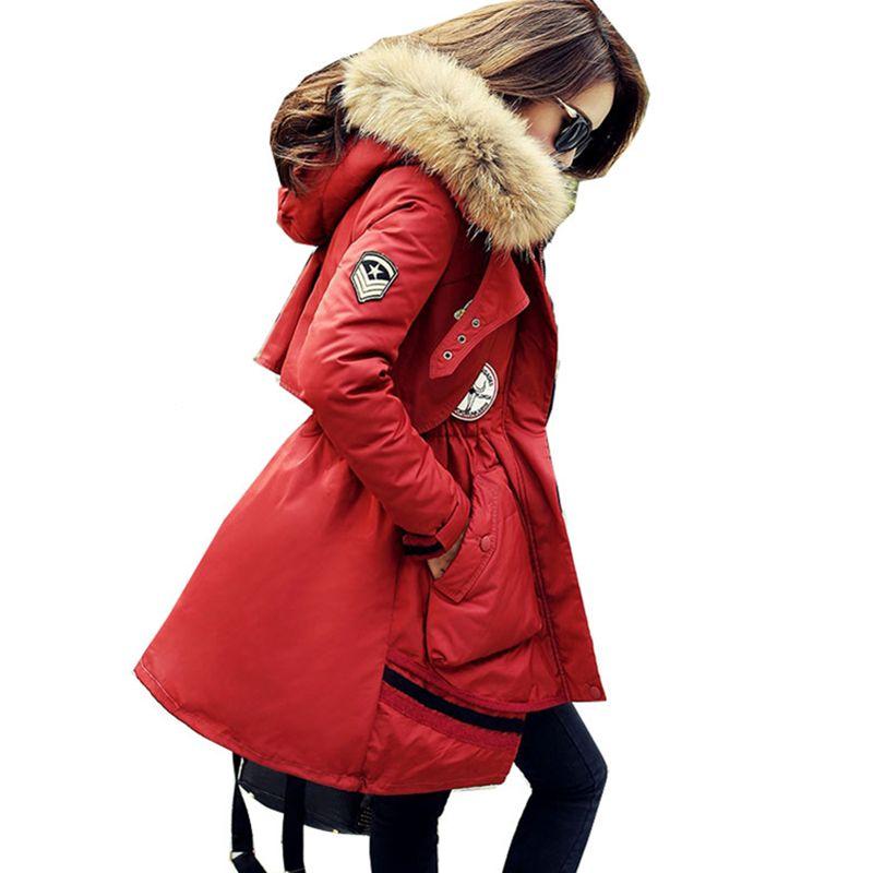 New Women Down Jacket Raccoon Fur Collar Coat Fashion Women Long Parka Slim Thick Oversized Coat White Duck Down Jacket LXT18