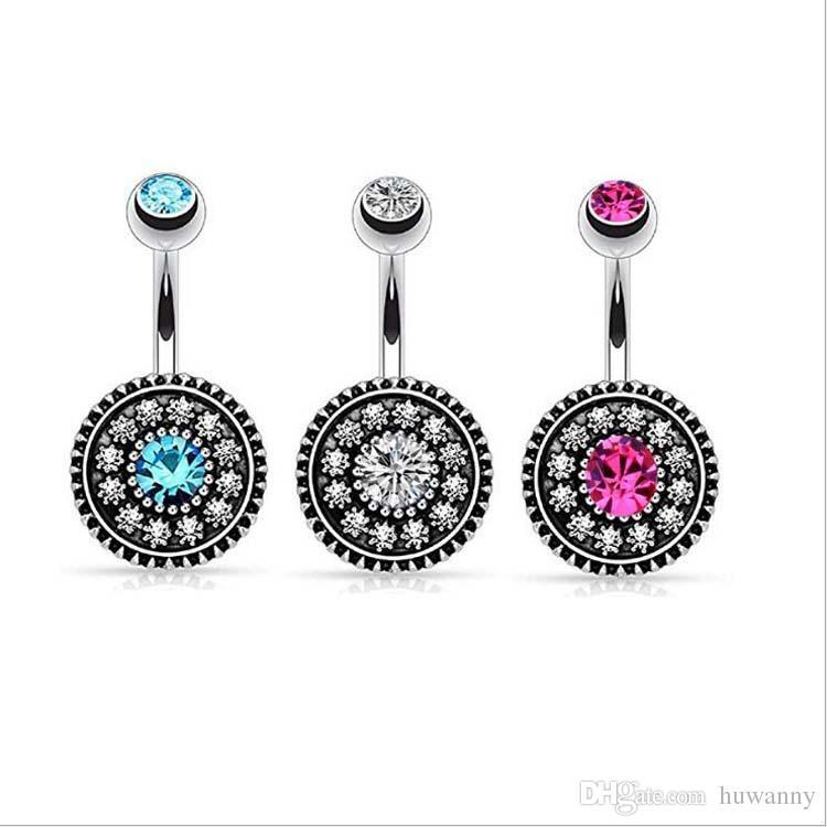 Животное кольцо из нержавеющей стали Bangly кольцо CZ с алмазным колокольчиком пупок кольца простой дизайн горный хрусталь пирсинг мода ювелирные изделия оптом 0880 ч