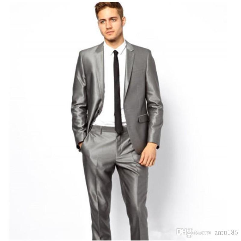 Özelleştirilmiş yeni erkek takım elbise iki parçalı takım elbise (ceket + pantolon) erkek moda tek toka düz renk takım elbise düğün damat groomsmen elbise