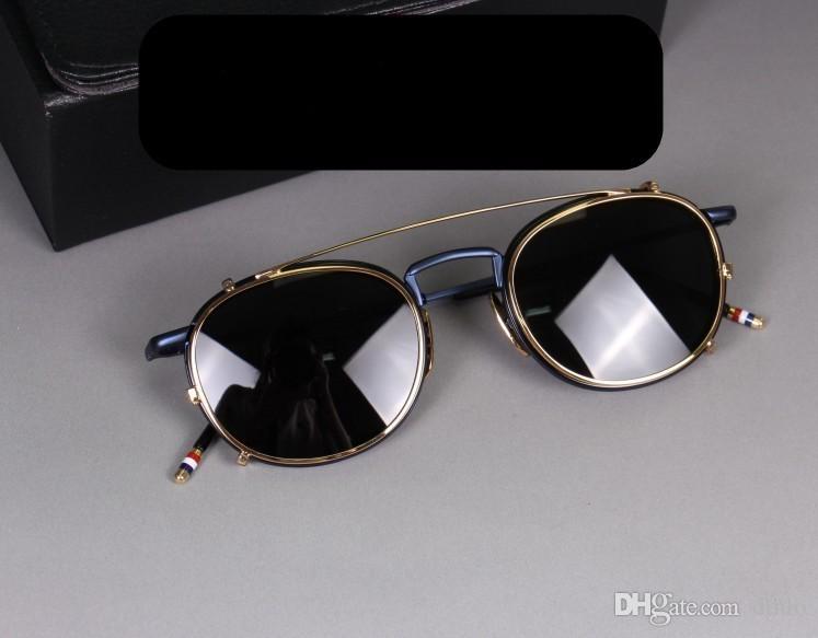 Männer Optische Gläser Frames mit polarisierten Sonnenbrillen Linse Marke Brillenfassungen für Frauen-Weinlese Myopie Brillen Sun Glasses TB710