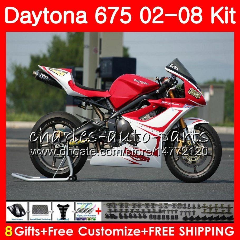 Karosserie für Triumph Daytona 675 02 03 04 05 06 07 08 Rot weiß Daytona675 04HM.34 Daytona 675 2002 2003 2004 2005 2006 2007 2008 Verkleidung
