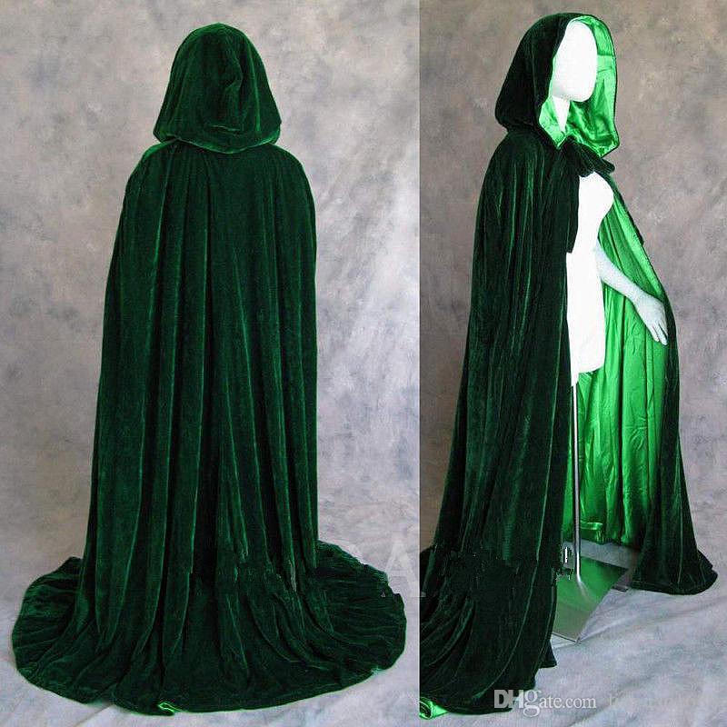 2020 hot Long Velvet Christmas Hooded Cloak Bridal Cloaks Capes Winter Halloween Floor Length Jacket Wedding Bridesmaid Wraps