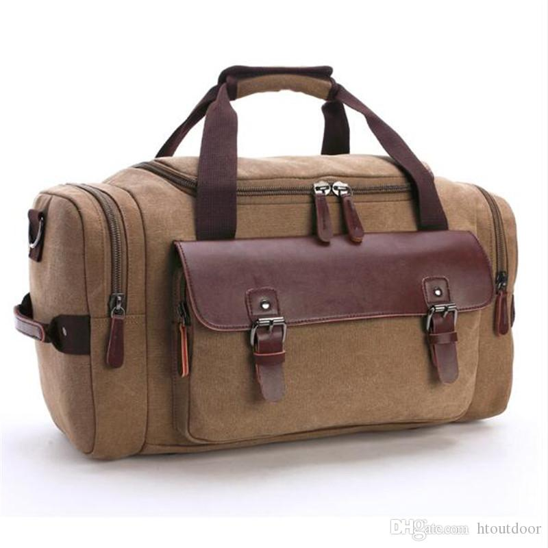 6 Color Multifunction Large Capacity Retro Canvas Backpack Leather Rucksack Duffel Bag Outdoor Travel Gym Fitness Camping Luggage Bag