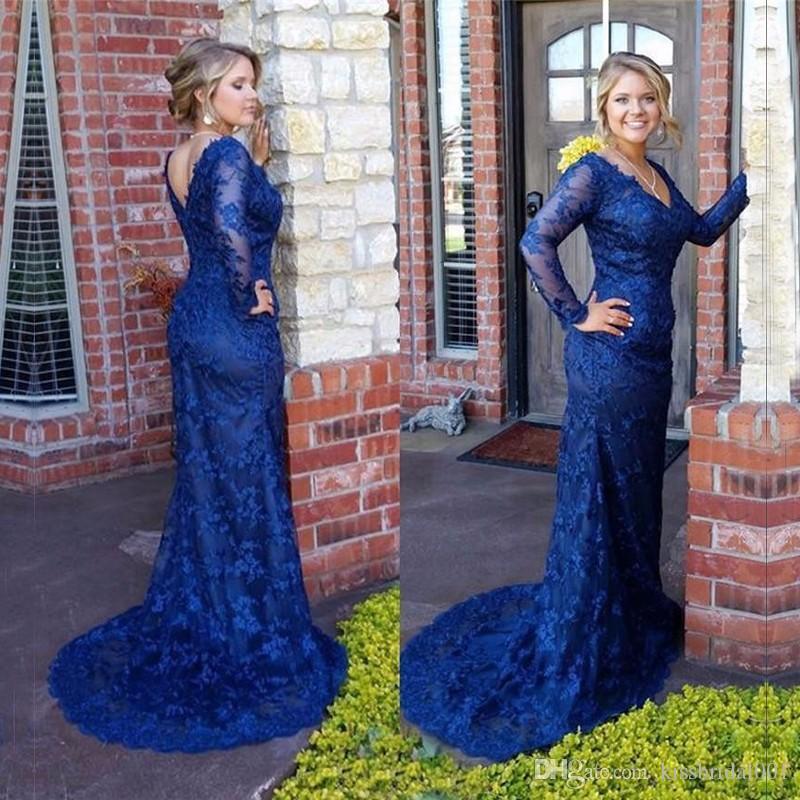Mangas largas de color azul real Vestidos de noche de encaje Sirena Tren de barrido Encaje completo Madre del vestido de novia Vestidos de fiesta largos