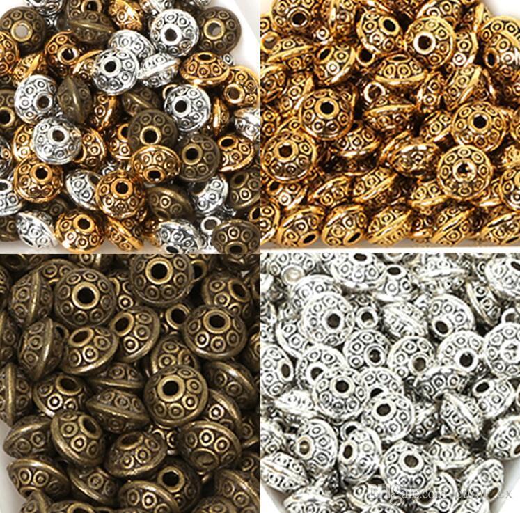 6mm 100 pcs Antigo Ouro / Bronze Banhado UFO Forma Contas De Metal Solto Spacer Beads Para Fazer Jóias Colar DIY Resultados Da Jóia