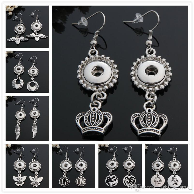 8 Estilo de Noosa Angel's Wings / Crown Snap Button Stud Fit 12mm Snap Button Jewelry Snap Buttons Pendientes