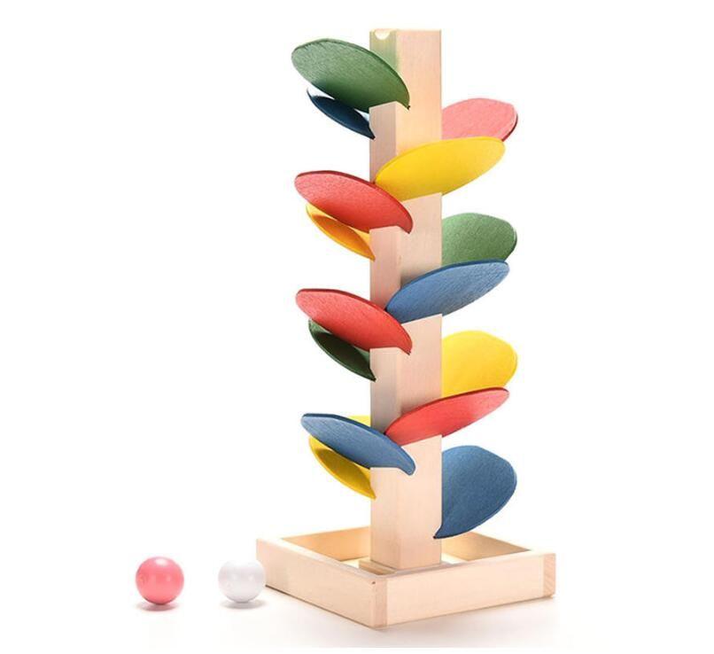 나무 트리 대리석 볼 실행 트랙 게임 아기 몬테소리 블록 아이 어린이 지능 교육 모델 건물 장난감