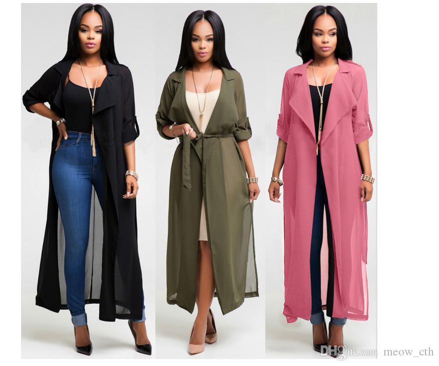 Cappotto cardigan a maniche lunghe in chiffon a 3 colori con camicia a vento a 3 colori da donna sexy estate casual da donna