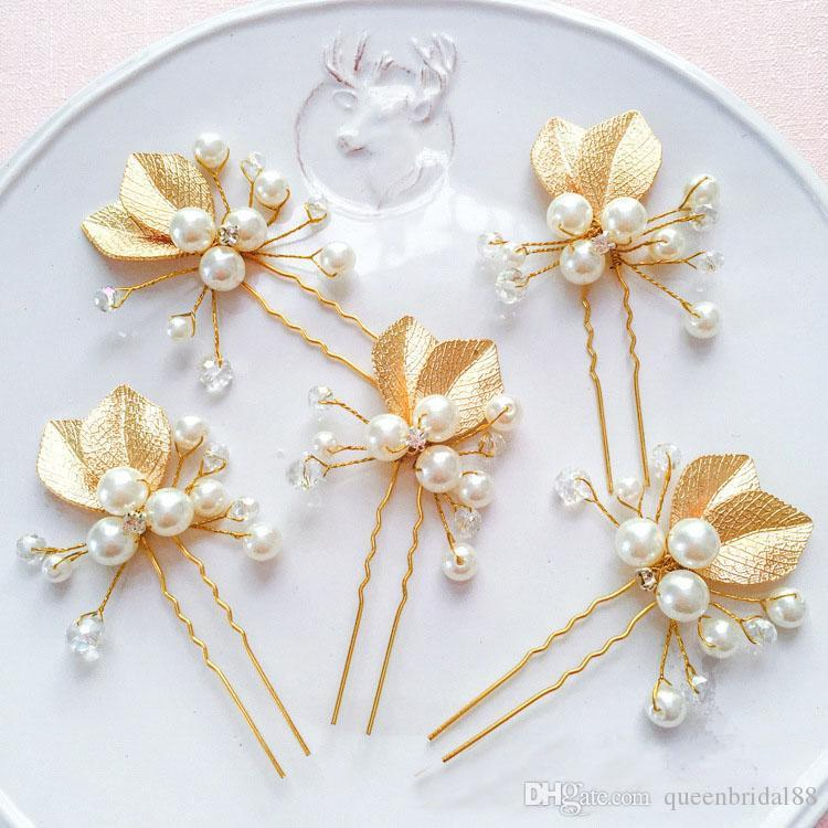 Best Selling 2019 New Bridal Headpieces U Pins Golden Leaf Wedding Hair Accessories Faux Pearl for Bride
