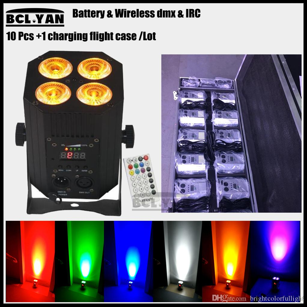 Good price 4pcs Wireless dmx LED 4*18w IR Remote RGBWA UV Battery Uplighting DJ Par Light 10xlot with flight case dhl shipping
