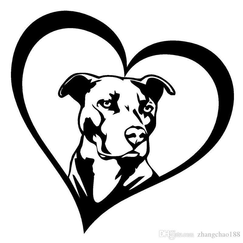 15.2 * 15.2cm Pitbull Heart Animal Car Decal CA-112