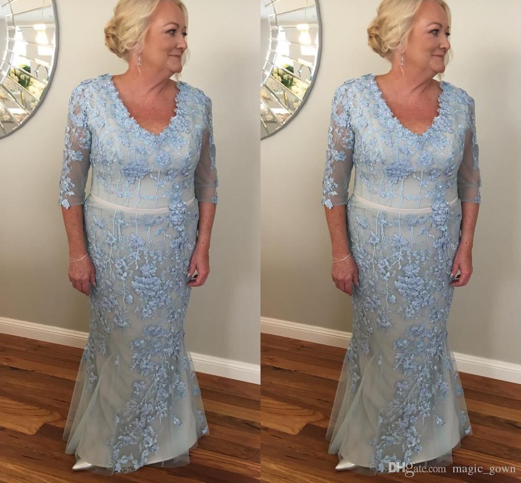 2019 luz luz azul tamanho tamanho Bainha mãe de vestidos de noiva colher decote laço elegante vestidos formais noite plus tamanho robes de fête