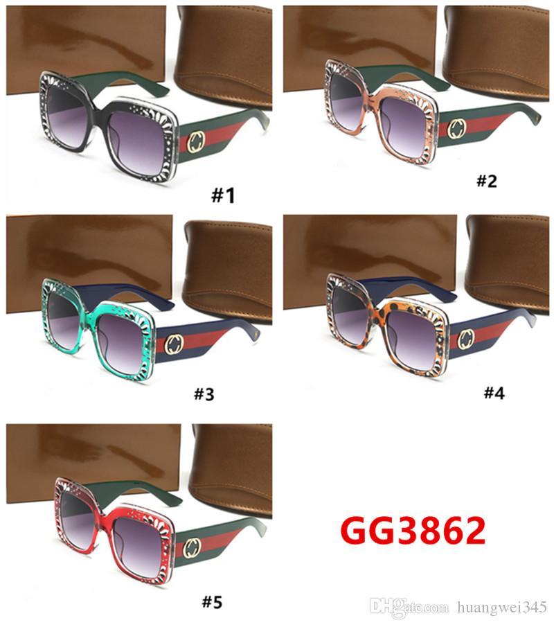 5 Colores de lujo para hombre y mujer 3862 Gafas de sol Diseñador de la marca Señoras Gafas Retro Gafas de sol Gafas de sol clásicas de piloto