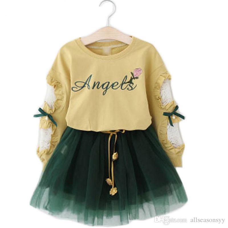 Novas meninas roupas terno de manga longa camiseta + fios saia 2 pcs set letra flor lace bow kids outono terno