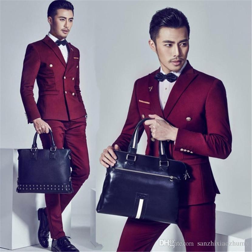Compre Traje De Vestir Formal Para Hombre Masculino Delgado Trajes De Boda Para Hombres De Doble Botonadura Trajes Para Hombre Traje Rojo Vino Ternos