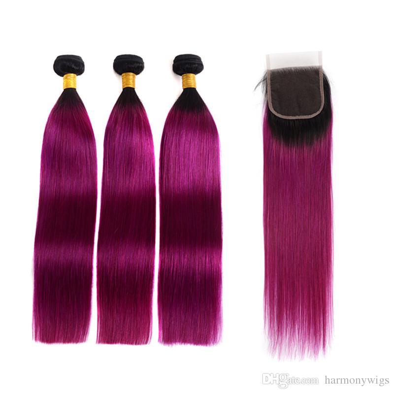 Ombre человеческих волос пучки бразильских волос плетет с кружева закрытия прямой волны тела 1bpurple два тона Ombre человеческих волос расширения