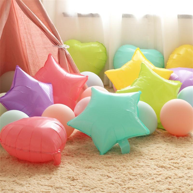 Toptan 50pcs / lot 18 inç Kalp Yıldız Yuvarlak Dondurma Rengi Şeker renk Makaron Folyo balon Düğün Doğum günü partisi dekorasyon