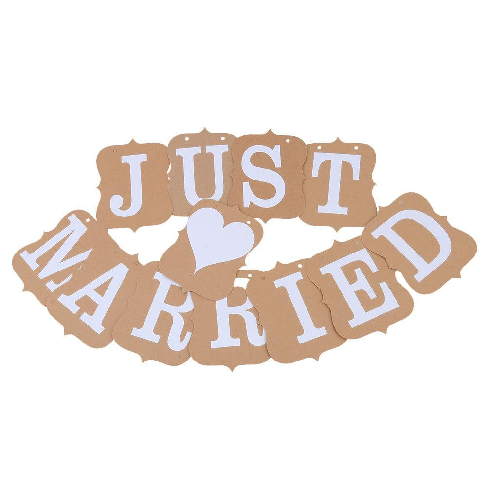 JUST MARRIED heart shape Wedding Banner Party Bunting Decor car Sign Photo Prop