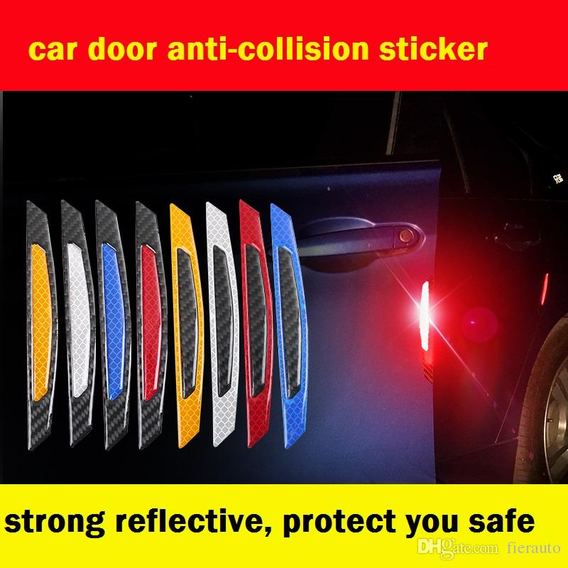 4pcs / Set fibra di carbonio Avvertimento marchio nastro adesivo autoadesivo Autoadesivo Decalcomanie Aprire Segno Autoadesivo riflettente di sicurezza