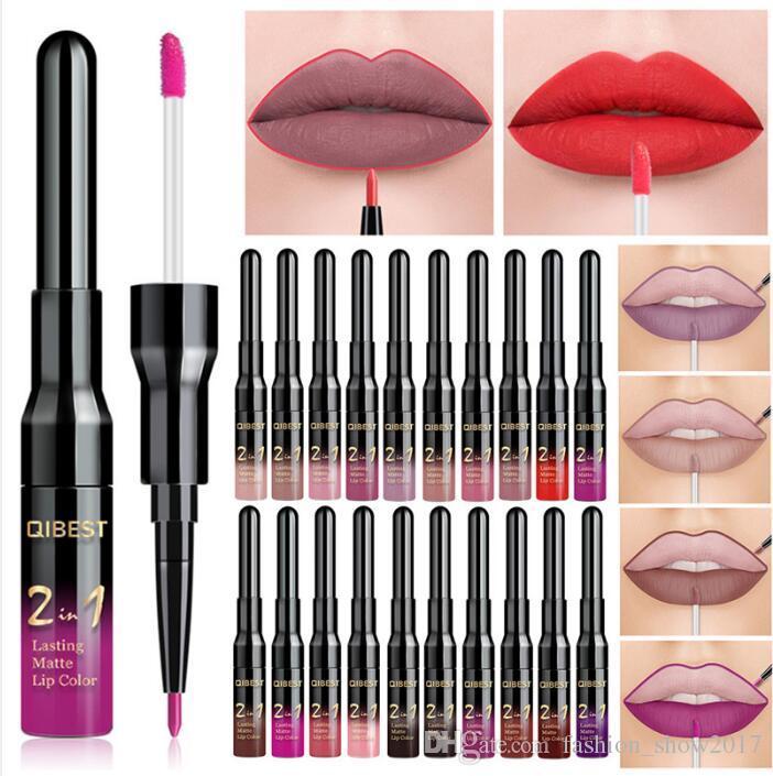 2 em 1 Dupla Cabeça Lip Makeup Lipgloss À Prova D 'Água de Longa Duração Matiz Sexy Red Lip Stick Beleza Matte Liner Pen Lip Gloss