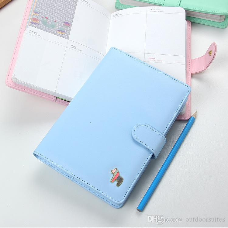 PU Leather Kawaii Agenda 2018 Planner Notebook Cute Weekly Planner Monthly Daily Day Planner Stationery Book
