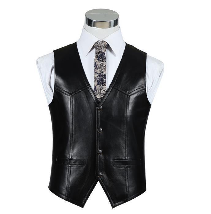 BONJEAN Uomo Slim Fit Gilet in vera pelle Casual Business Suit pelle di montone gilet Top di alta qualità di trasporto di goccia