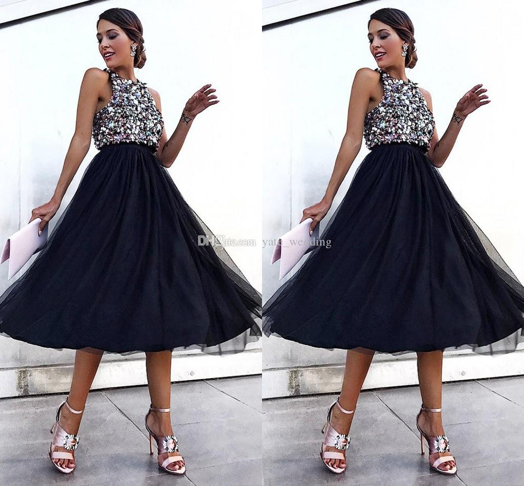 0b54ca30b780 Fashion Black Tulle Sequin Prom Dresses Jewel Neck Empire Tea Length Midi  Party Dresses Formal Evening Gowns