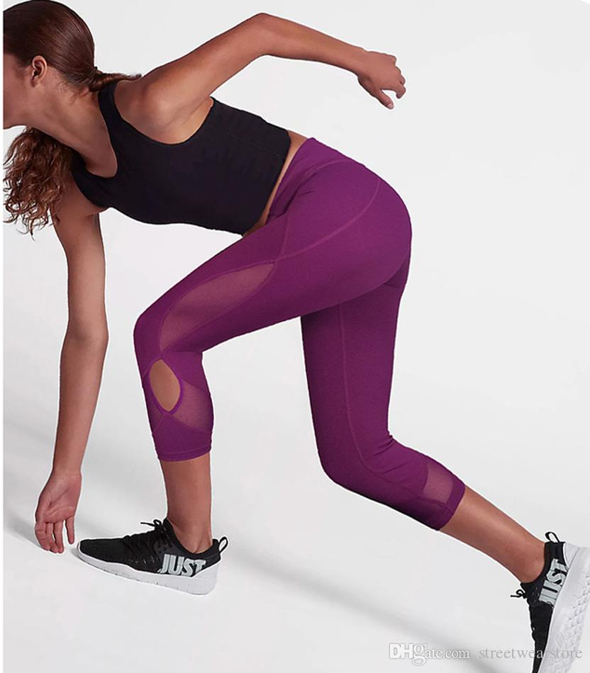 hot-selling discount coupon codes distinctive design 2019 High Waist Side Mesh Yoga Pants Sexy Cut Out Yoga Capri Purple Workout  Gym Legging Mallas Mujer Deportivas Fitness Sport Legging From ...
