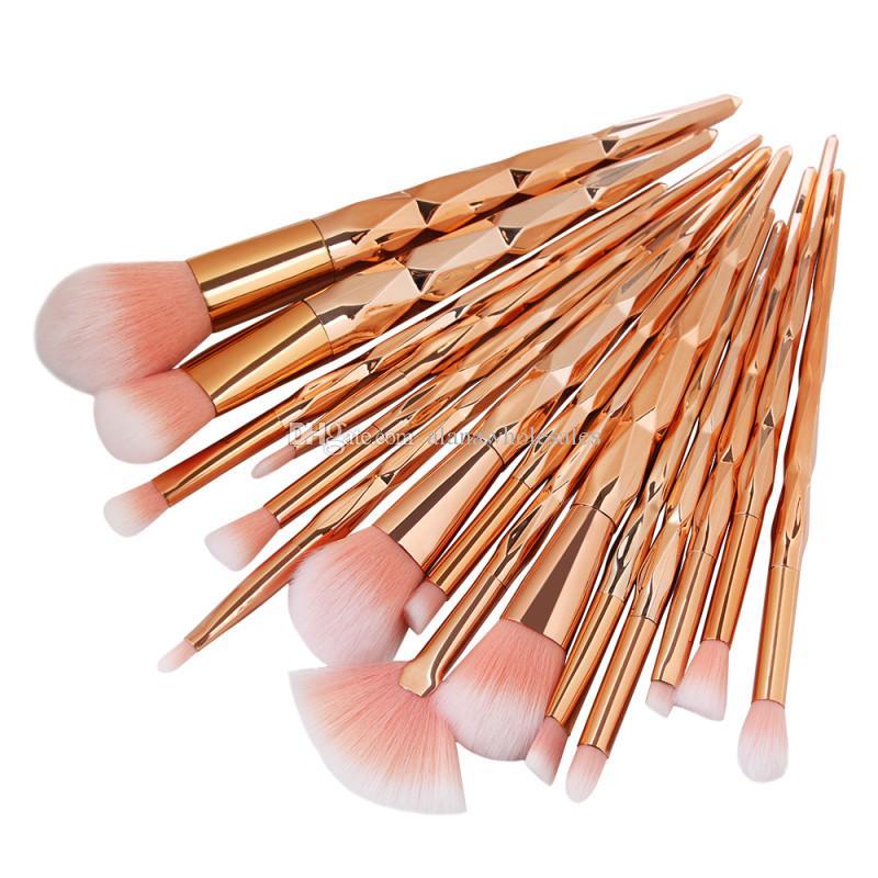 2018 Diamante Pincéis de Maquiagem Definido 15 Pcs Profissional Make up Brushes Ferramentas de Sobrancelha Delineador Em Pó Com Pacote de Opp MAG5518