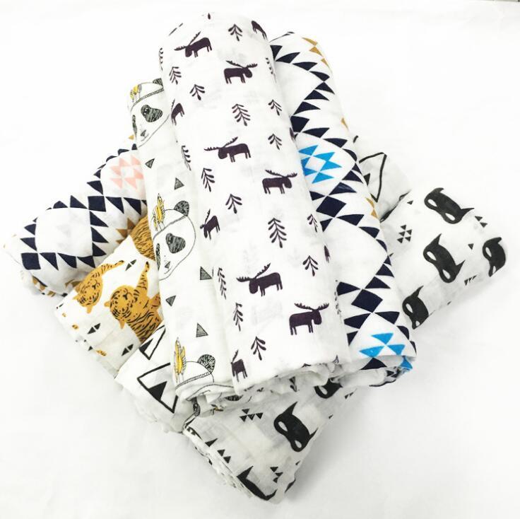 Bebés Bebés Niñas Muselinas Mantas Niños Algodón Suave Abrigo Cálido Swaddle Toalla de Baño Recién Nacido Ropa de Cama Props Mantas 120x120
