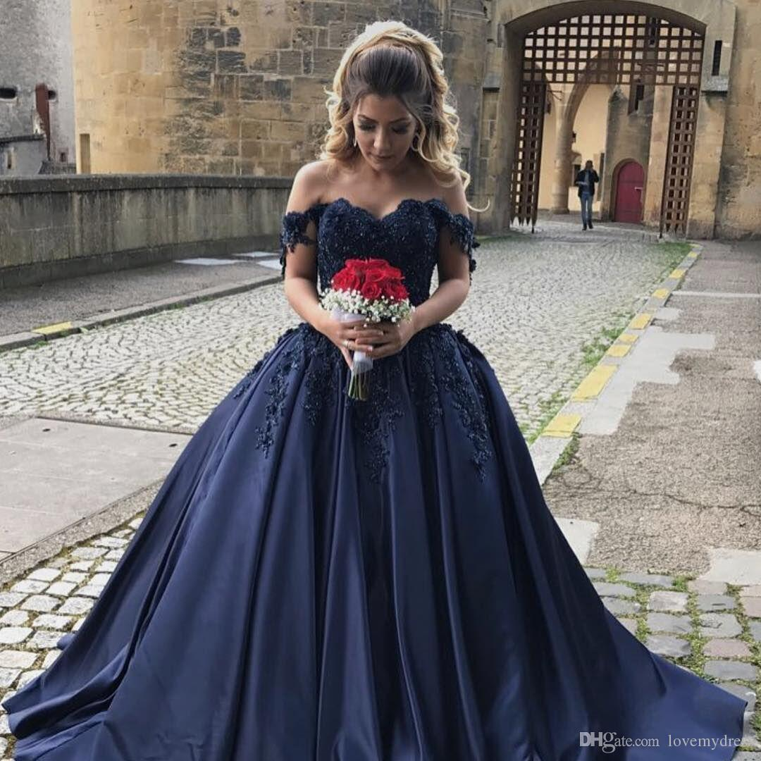 navy blue off shoulder wedding dress cheap ball gown satin applique beads  sequined lace corset back vintage wedding bridal gown dresses new wedding