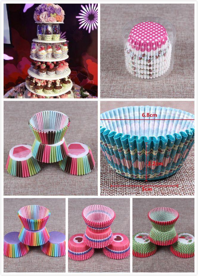 Cartone animato Festa di nozze Biscotti Cottura Cupcake Tazze Fodere Custodie per muffin Carta di cioccolato Torta Cup 30 colori 100 pezzi / set