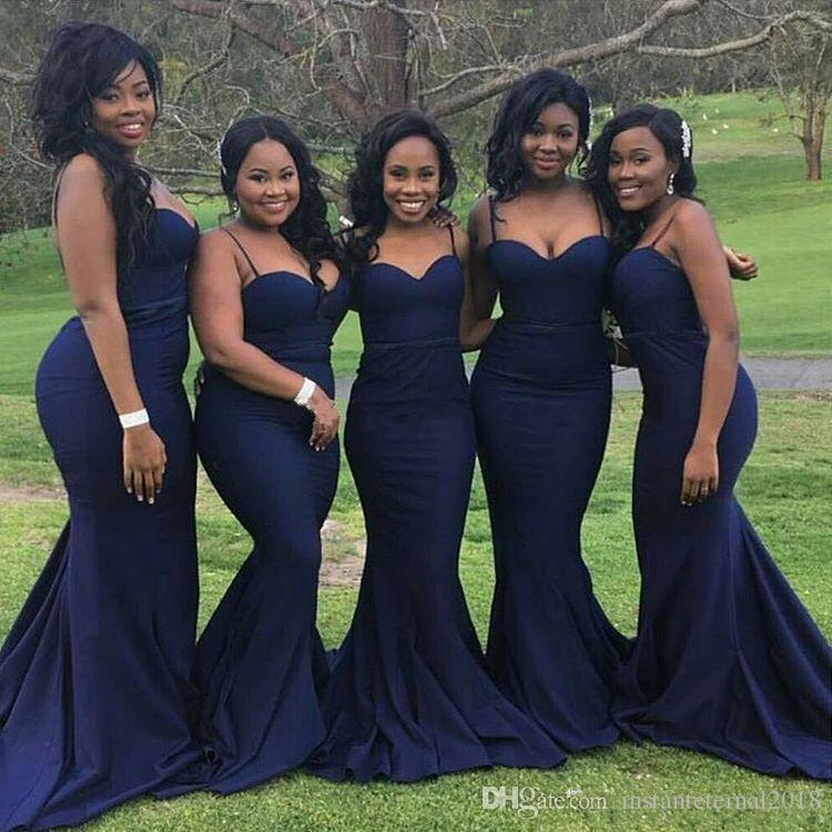 2018 New Simple Afraic Elegant Spaghetti Strap Mermaid Bridesmaid Dresses Sexy Sweetheart Sweep Train Satin Long Wedding Party Dresses