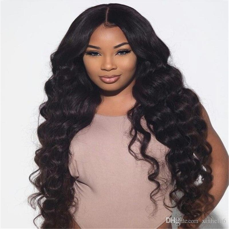 Mode vague profonde 100% cheveux humains de dentelle perruques avant de dentelle Nœuds Blanchis cheveux Vierge brésilienne perruque avec bébé Couleur des cheveux # 1b