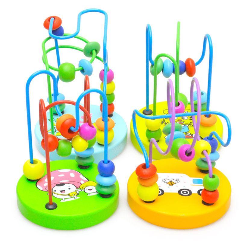 Juguete de aprendizaje de la primera infancia Niños Niños Bebé Colorido De Madera Mini Alrededor de Perlas Juguete educativo Regalo de los niños Juguete de madera