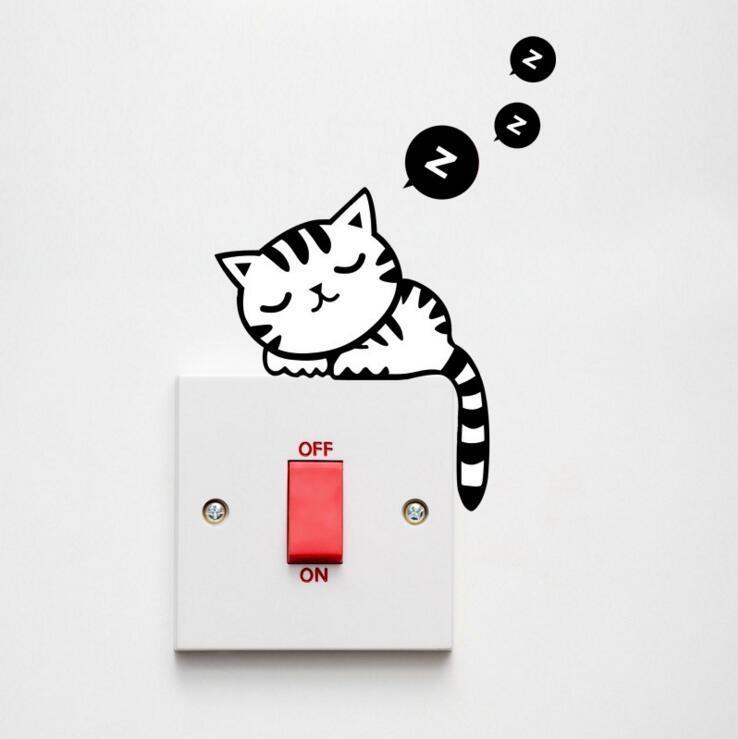 DIY 재미 있은 귀여운 검은 고양이 스위치 스티커 벽 스티커 홈 Decals 침실 어린이 방 조명 병 장식