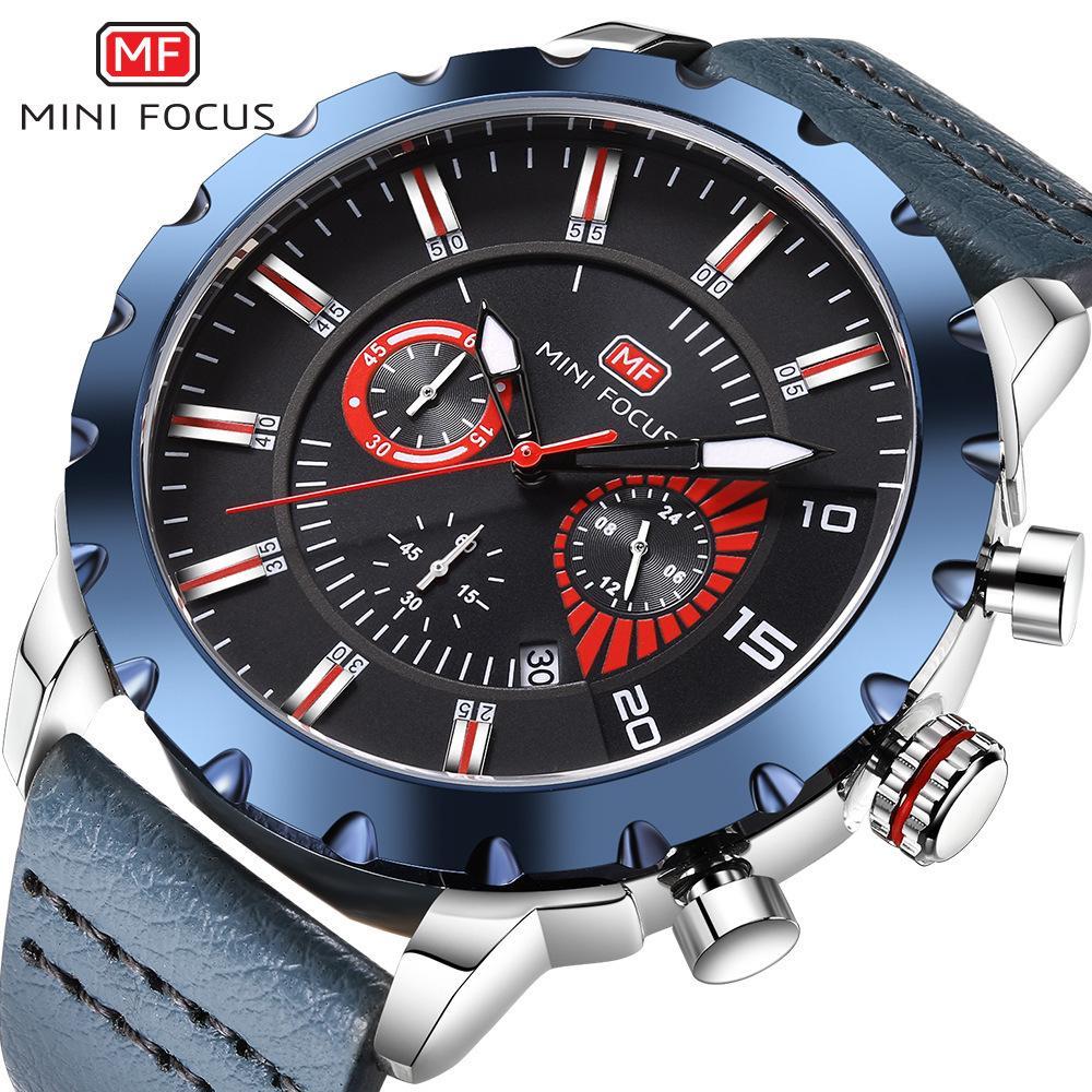 MINIFOCUS Deluxe Mens Leather Band Reloj utilitario Sport Big Dial Relojes Military Impermeable Japan Movement Reloj de cuarzo para hombre MF0079G