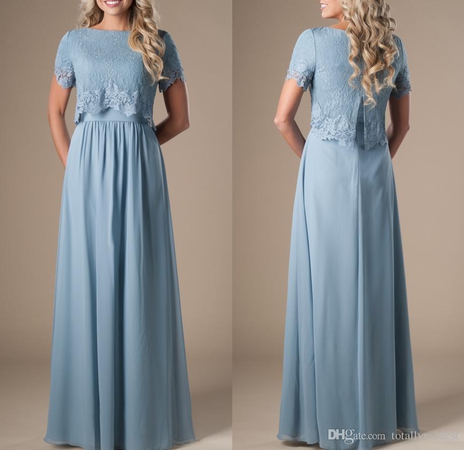 Blue Modest Wedding Dress