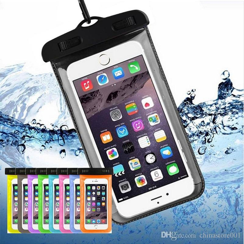 For iPhone 8 7 6S Plus Universal Sealed Waterproof Bag Case Mobile Phones Waterproof Dry Cell Neck Pouch Bags For Samsung S9 S8