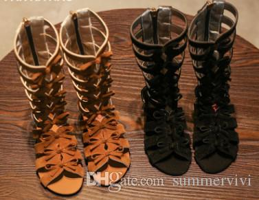 2018 New Girls roman sandals children Bows hollow weave sandals kids high-boot campagus boots girls gladiator sandal shoes R2235
