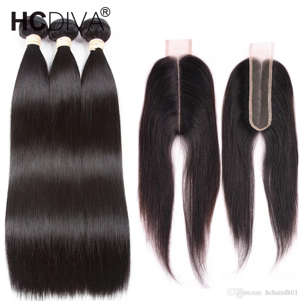 8a Mink Brazilian Straight Hair 3 Bundles with 2x6 Closure Brazilian Virgin Human Hair Closure For Black Women Lace Deep Middle Part Free
